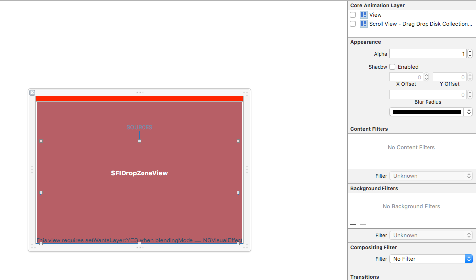 Interface Builder showing a red NSVisualEffectView
